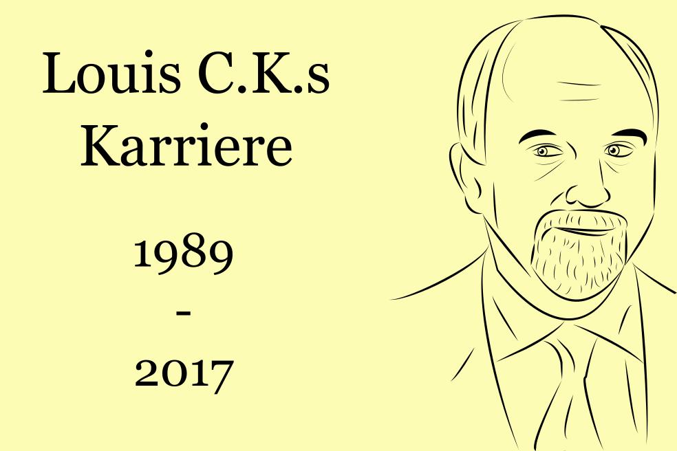 """So könnte eine Traueranzeige für Fans aussehen: Das Bild zeigt rechts Louis C.K., links neben ihm steht """"Louis C.K.s Karriere: 1989 bis 2017"""""""