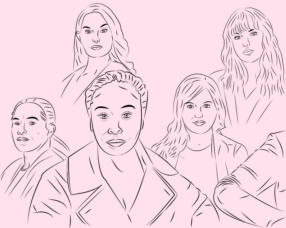 """Das Bild zeigt Umrissporträts der Frauen auf der """"Person Of The Year 2017""""-Ausgabe des Time Magazines. Von Links oben nach rechts unten: Ashley Judd, Taylor Swift, Isabel Pascual, Adama Iwu, Susan Fowler, und eine anonyme Person von der nur der Ellenbogen zu sehen ist."""