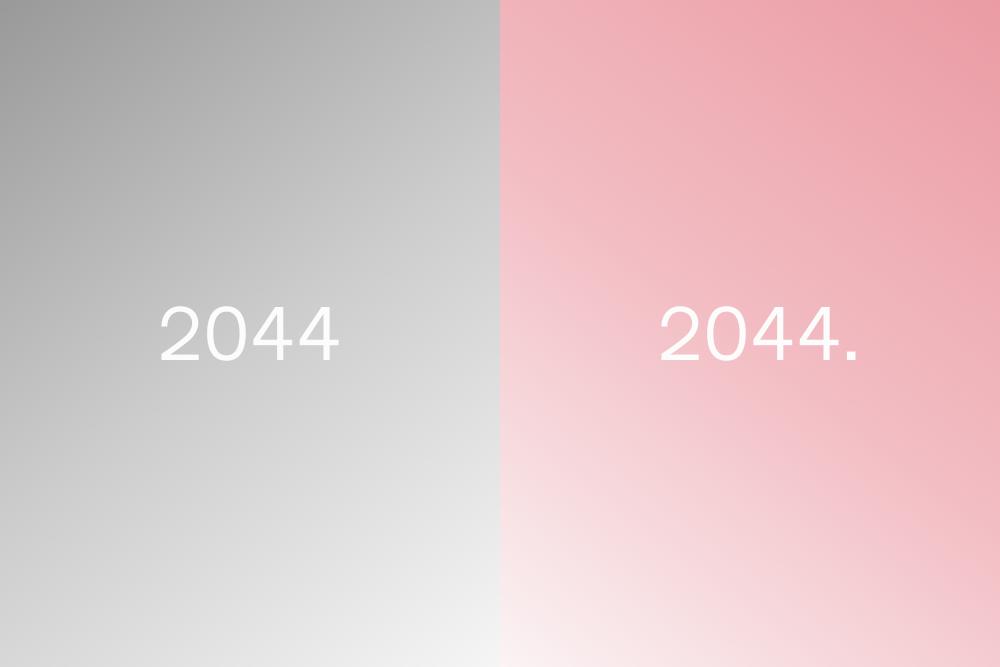 """Das Bild zeigt eine Gegenüberstellung zweier verschiedenfarbiger Rechtecke, jeweils mit der Beschriftung """"2044"""". Eins ist grau und eins ist rosa. Ready Player One hätte sein 2044 auch positiv zeichnen können"""