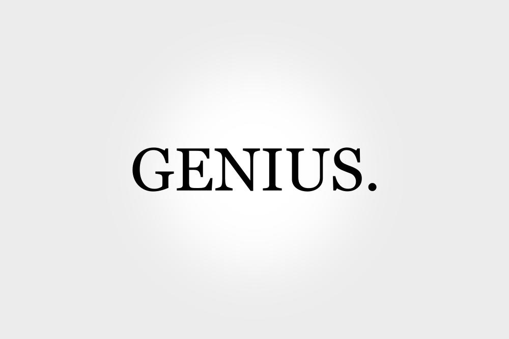 """James Halliday sei ein großes Genie und ein Gott der Geeks. Auf dem Bild steht in Großbuchstaben """"GENIUS."""" geschrieben"""